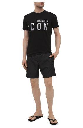 Мужские резиновые шлепанцы  DSQUARED2 черного цвета, арт. FFM0001 29003990 | Фото 2 (Материал внешний: Резина)