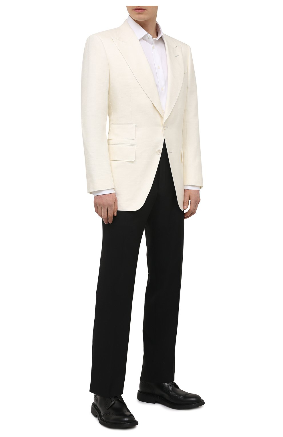 Мужской шелковый пиджак TOM FORD белого цвета, арт. 915R00/15ML40   Фото 2