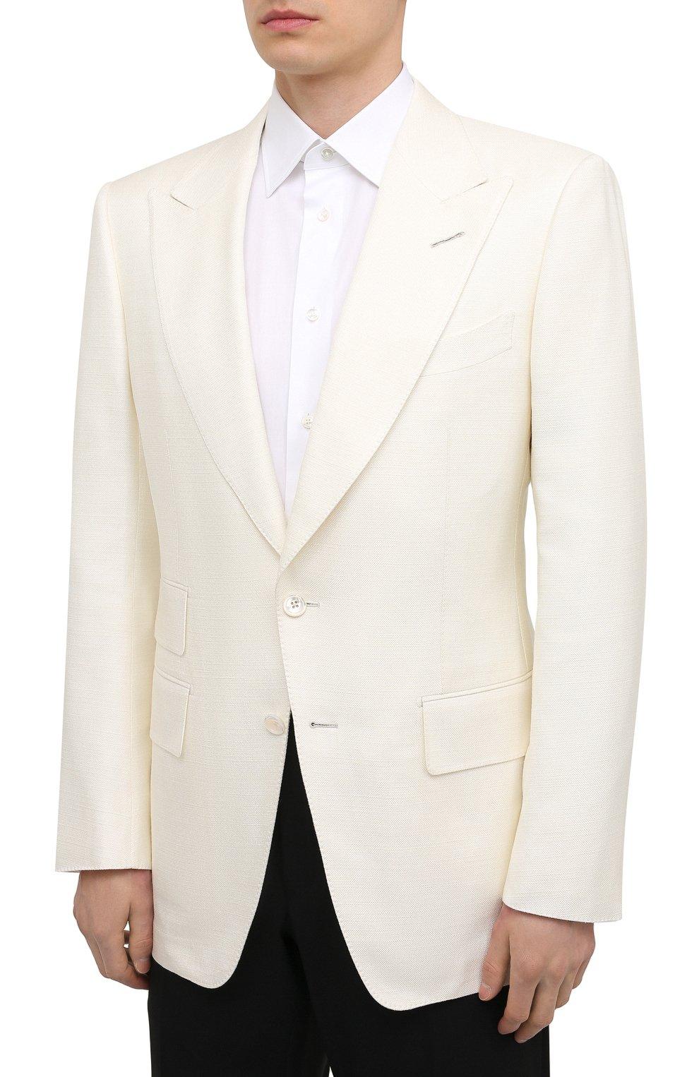 Мужской шелковый пиджак TOM FORD белого цвета, арт. 915R00/15ML40   Фото 3