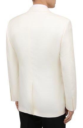 Мужской шелковый пиджак TOM FORD белого цвета, арт. 915R00/15ML40   Фото 4