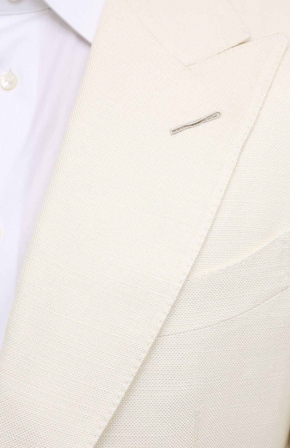 Мужской шелковый пиджак TOM FORD белого цвета, арт. 915R00/15ML40   Фото 5