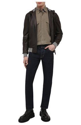 Мужской кожаный бомбер GIMO'S темно-коричневого цвета, арт. 21PE.1.023.67L | Фото 2