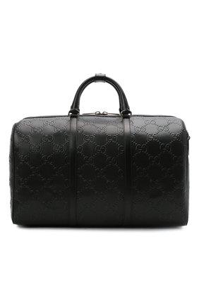 Мужская кожаная дорожная сумка GUCCI черного цвета, арт. 625768/1W3CN | Фото 1 (Ремень/цепочка: На ремешке; Материал: Натуральная кожа)