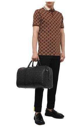 Мужская кожаная дорожная сумка GUCCI черного цвета, арт. 625768/1W3CN | Фото 2 (Ремень/цепочка: На ремешке; Материал: Натуральная кожа)