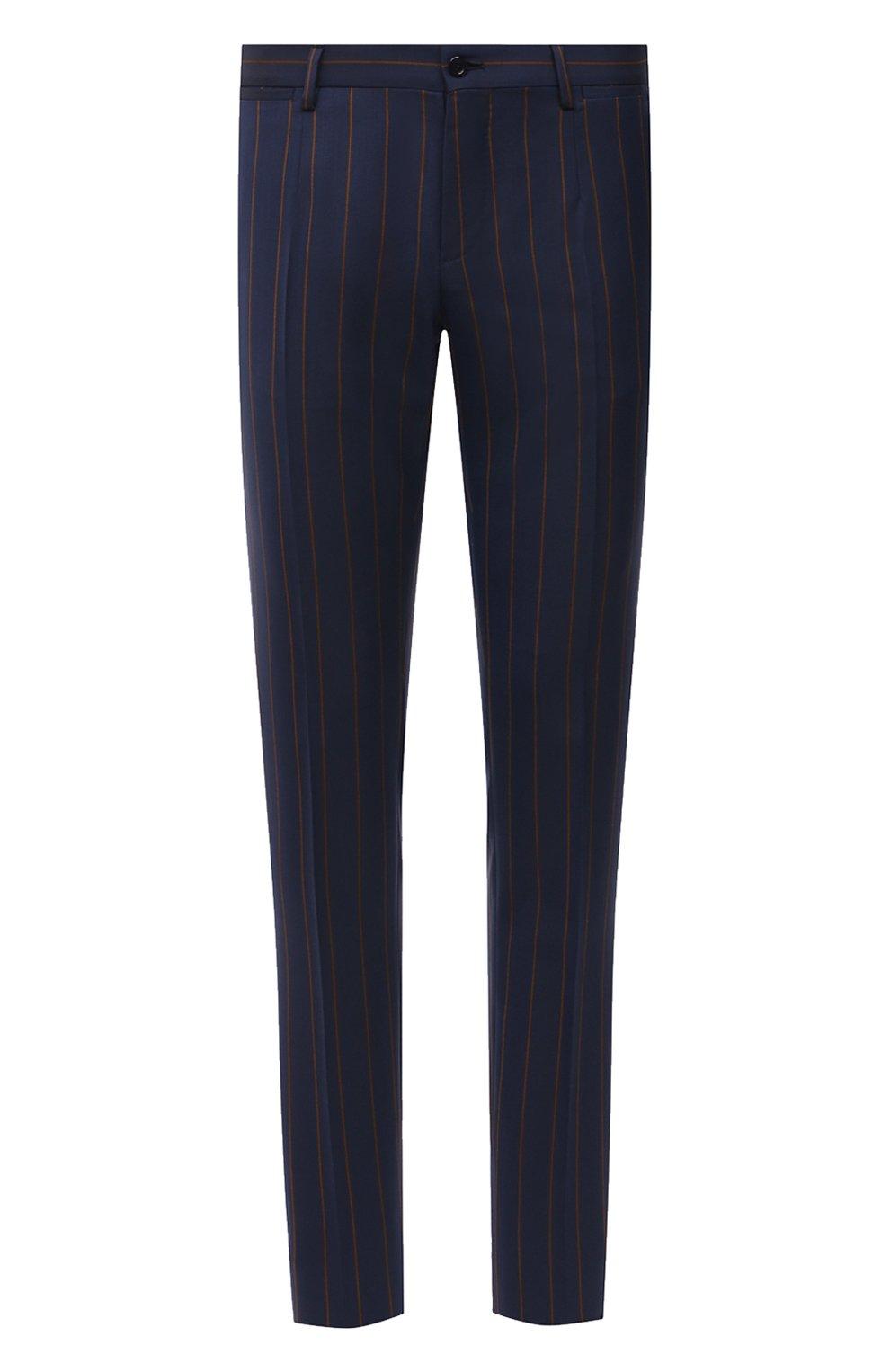 Мужские шерстяные брюки DOLCE & GABBANA синего цвета, арт. GY7BMT/FR2YH | Фото 1 (Материал внешний: Шерсть; Длина (брюки, джинсы): Стандартные; Случай: Повседневный, Формальный; Стили: Классический; Материал подклада: Вискоза)