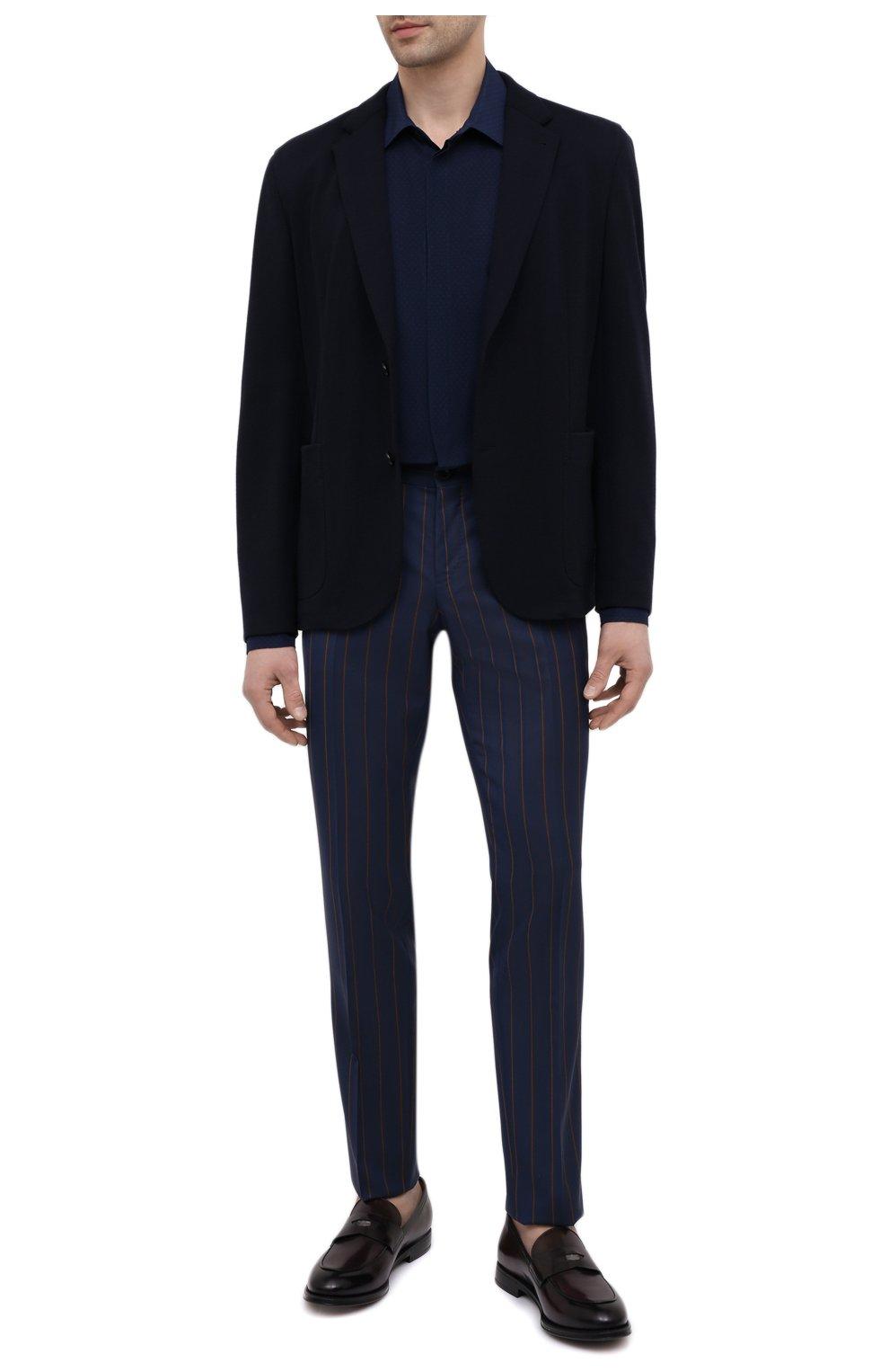 Мужские шерстяные брюки DOLCE & GABBANA синего цвета, арт. GY7BMT/FR2YH | Фото 2 (Материал внешний: Шерсть; Длина (брюки, джинсы): Стандартные; Случай: Повседневный, Формальный; Стили: Классический; Материал подклада: Вискоза)