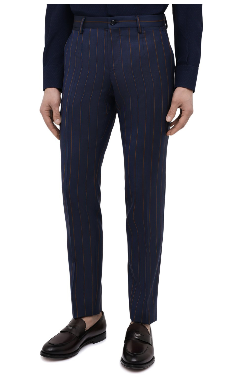 Мужские шерстяные брюки DOLCE & GABBANA синего цвета, арт. GY7BMT/FR2YH | Фото 3 (Материал внешний: Шерсть; Длина (брюки, джинсы): Стандартные; Случай: Повседневный, Формальный; Стили: Классический; Материал подклада: Вискоза)