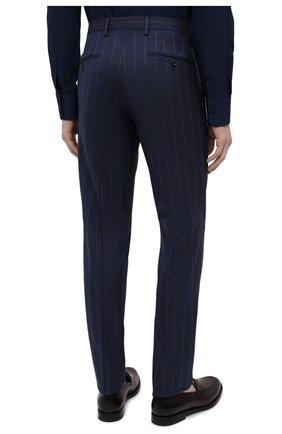 Мужские шерстяные брюки DOLCE & GABBANA синего цвета, арт. GY7BMT/FR2YH | Фото 4 (Материал внешний: Шерсть; Длина (брюки, джинсы): Стандартные; Случай: Повседневный, Формальный; Стили: Классический; Материал подклада: Вискоза)