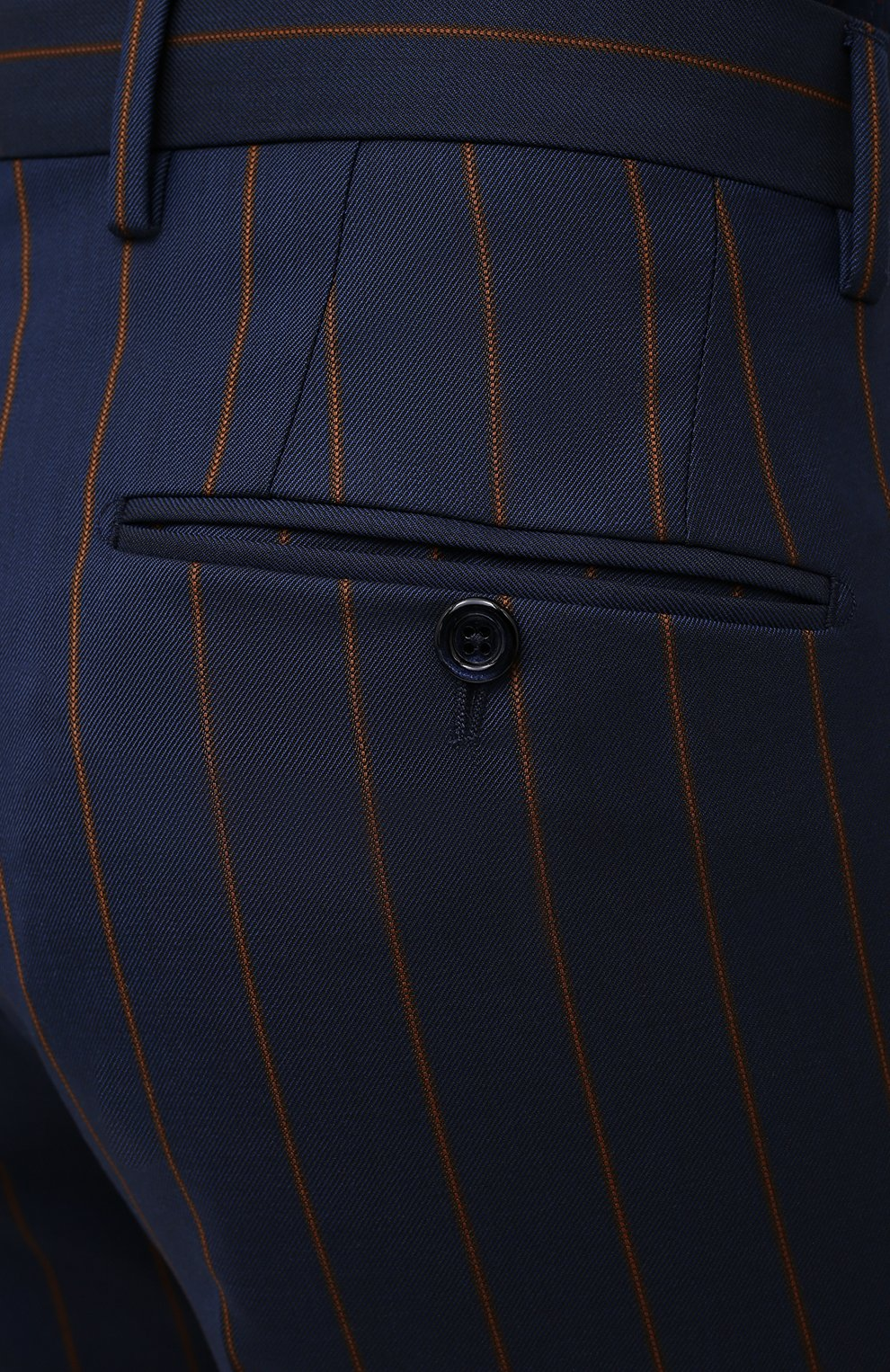 Мужские шерстяные брюки DOLCE & GABBANA синего цвета, арт. GY7BMT/FR2YH | Фото 5 (Материал внешний: Шерсть; Длина (брюки, джинсы): Стандартные; Случай: Повседневный, Формальный; Стили: Классический; Материал подклада: Вискоза)