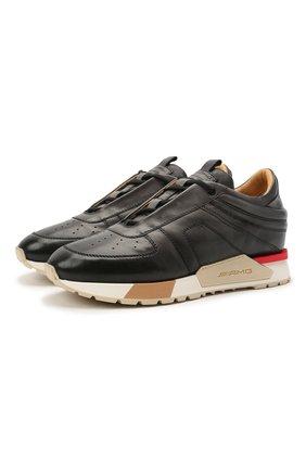 Мужские кожаные кроссовки SANTONI темно-серого цвета, арт. MSAM21413BBRMBDNG62 | Фото 1