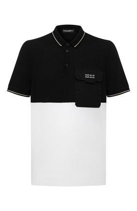 Мужское хлопковое поло DOLCE & GABBANA черно-белого цвета, арт. G8M07Z/G7YJY   Фото 1