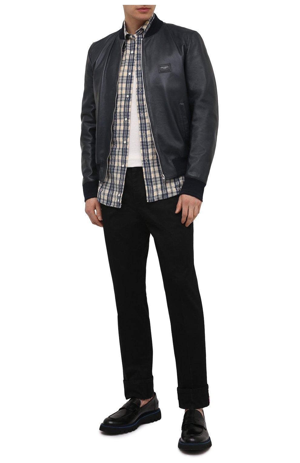 Мужской кожаный бомбер DOLCE & GABBANA синего цвета, арт. G9PB9L/FUL89   Фото 2 (Кросс-КТ: Куртка; Рукава: Длинные; Принт: Без принта; Мужское Кросс-КТ: Кожа и замша; Длина (верхняя одежда): Короткие; Материал подклада: Вискоза; Стили: Кэжуэл)