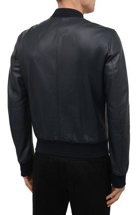 Мужской кожаный бомбер DOLCE & GABBANA синего цвета, арт. G9PB9L/FUL89   Фото 4 (Кросс-КТ: Куртка; Рукава: Длинные; Принт: Без принта; Мужское Кросс-КТ: Кожа и замша; Длина (верхняя одежда): Короткие; Материал подклада: Вискоза; Стили: Кэжуэл)