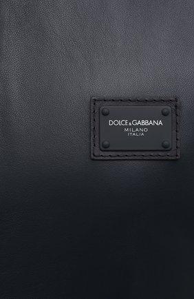 Мужской кожаный бомбер DOLCE & GABBANA синего цвета, арт. G9PB9L/FUL89   Фото 5 (Кросс-КТ: Куртка; Рукава: Длинные; Принт: Без принта; Мужское Кросс-КТ: Кожа и замша; Длина (верхняя одежда): Короткие; Материал подклада: Вискоза; Стили: Кэжуэл)
