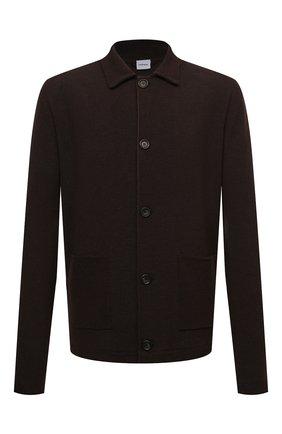 Мужской кардиган ASPESI темно-коричневого цвета, арт. S1 Q M375 5662 | Фото 1 (Длина (для топов): Стандартные; Материал внешний: Синтетический материал, Шерсть; Рукава: Длинные; Стили: Кэжуэл; Мужское Кросс-КТ: Кардиган-одежда)