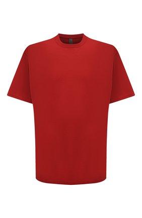 Мужская хлопковая футболка KAZUYUKI KUMAGAI красного цвета, арт. KJ11-017 | Фото 1 (Материал внешний: Хлопок; Длина (для топов): Стандартные; Рукава: Короткие; Принт: Без принта; Стили: Минимализм)