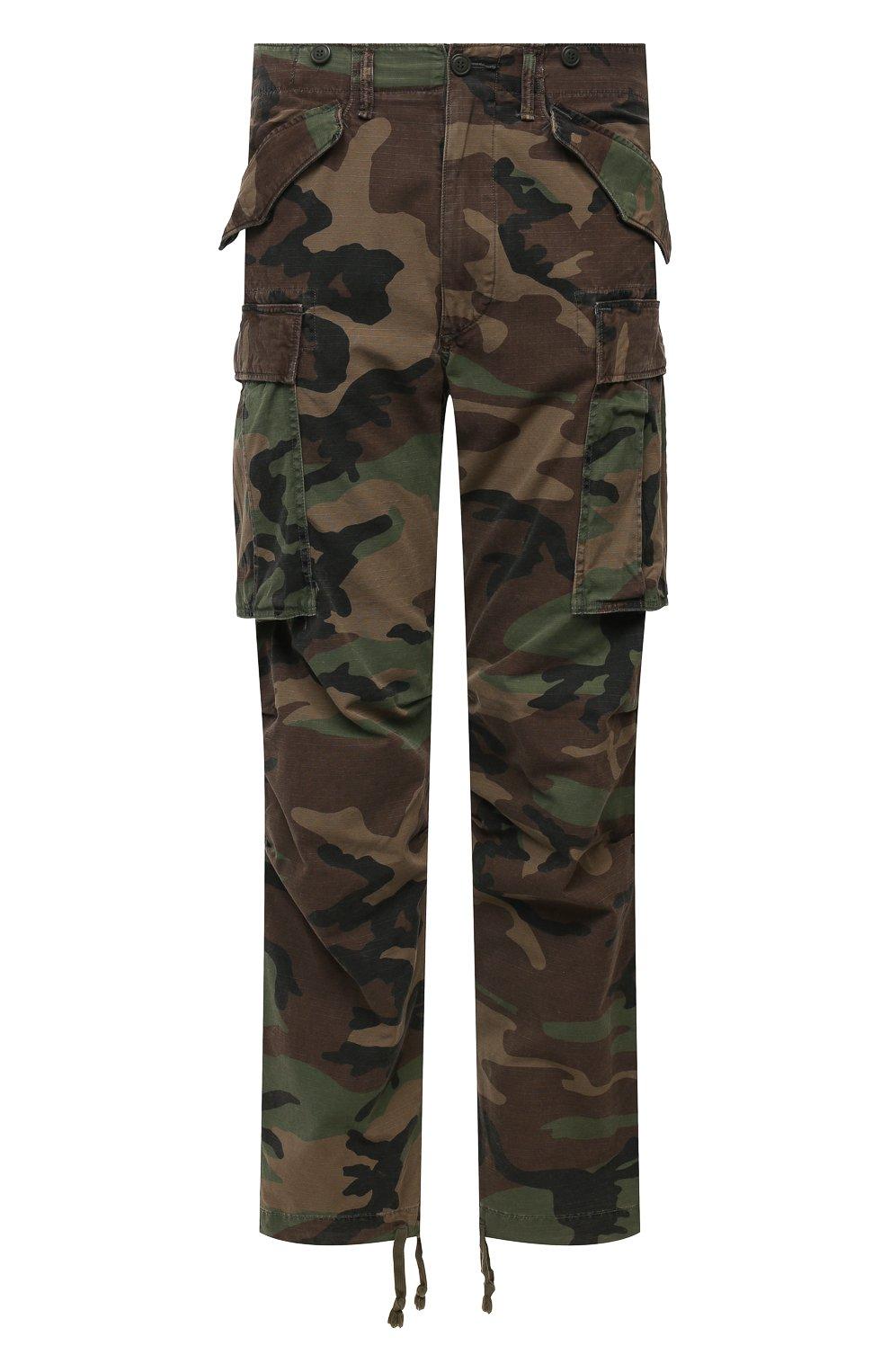 Мужские хлопковые брюки-карго RRL хаки цвета, арт. 782819175 | Фото 1 (Силуэт М (брюки): Карго; Длина (брюки, джинсы): Стандартные; Случай: Повседневный; Стили: Милитари; Материал внешний: Хлопок)
