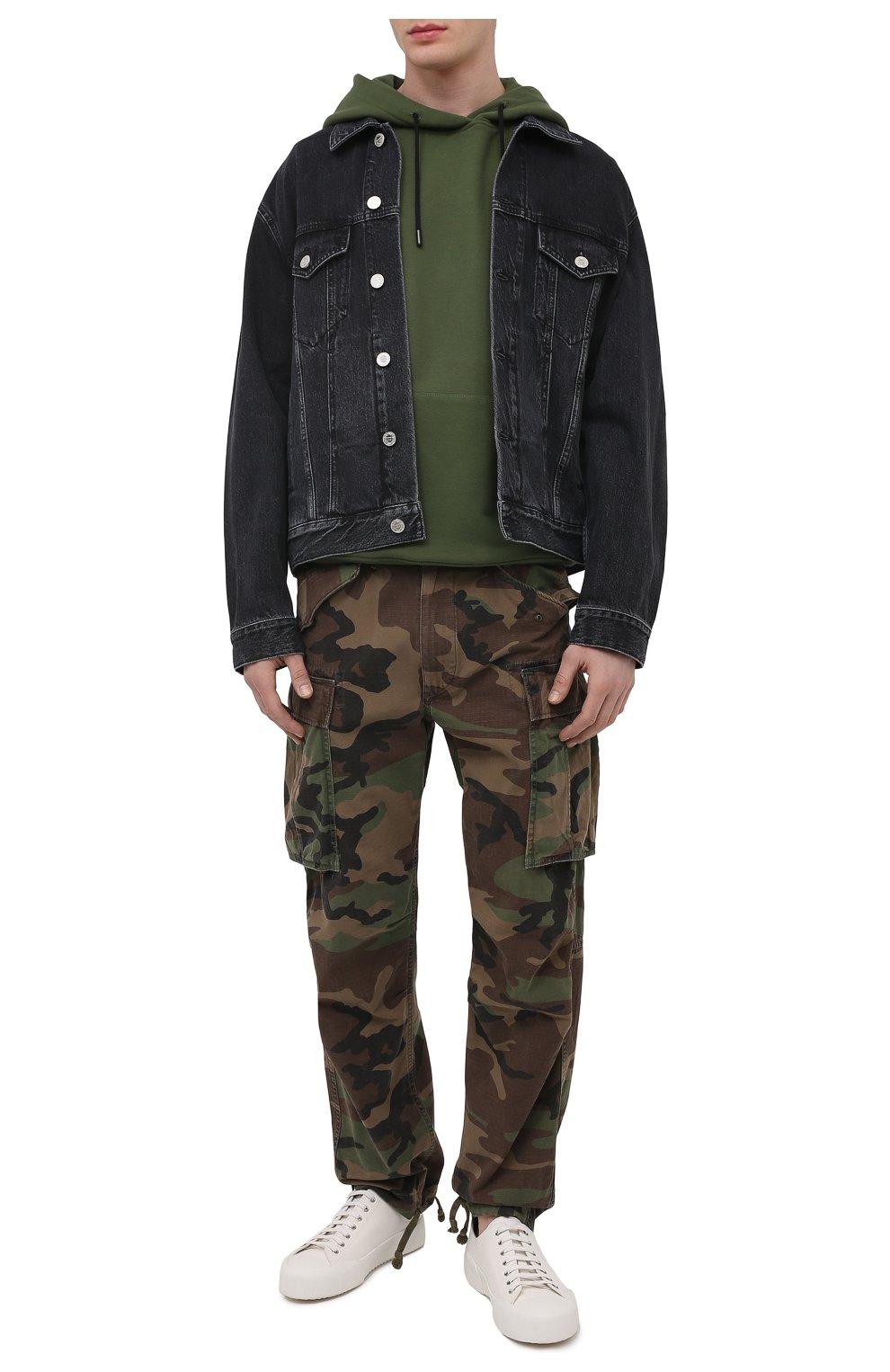 Мужские хлопковые брюки-карго RRL хаки цвета, арт. 782819175 | Фото 2 (Силуэт М (брюки): Карго; Длина (брюки, джинсы): Стандартные; Случай: Повседневный; Стили: Милитари; Материал внешний: Хлопок)