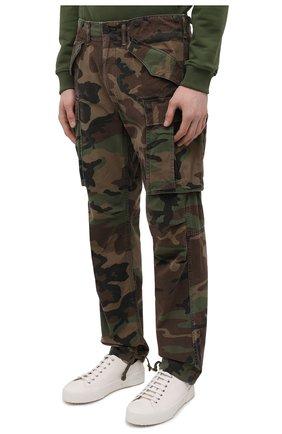 Мужские хлопковые брюки-карго RRL хаки цвета, арт. 782819175 | Фото 3 (Силуэт М (брюки): Карго; Длина (брюки, джинсы): Стандартные; Случай: Повседневный; Стили: Милитари; Материал внешний: Хлопок)