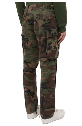 Мужские хлопковые брюки-карго RRL хаки цвета, арт. 782819175 | Фото 4 (Силуэт М (брюки): Карго; Длина (брюки, джинсы): Стандартные; Случай: Повседневный; Стили: Милитари; Материал внешний: Хлопок)