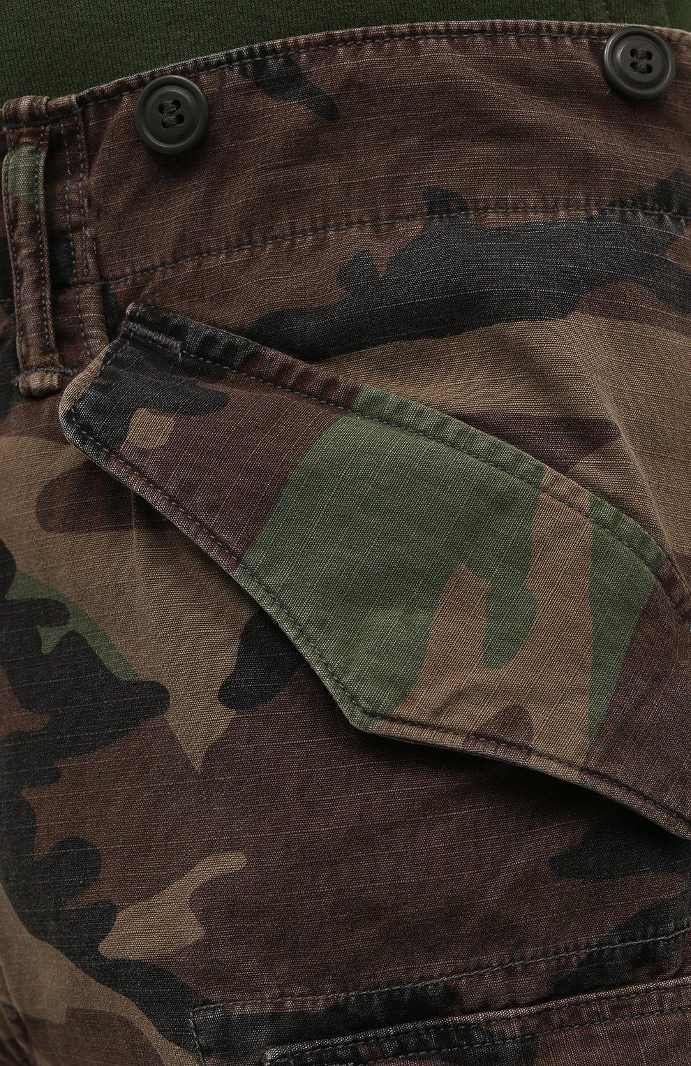 Мужские хлопковые брюки-карго RRL хаки цвета, арт. 782819175 | Фото 5 (Силуэт М (брюки): Карго; Длина (брюки, джинсы): Стандартные; Случай: Повседневный; Стили: Милитари; Материал внешний: Хлопок)