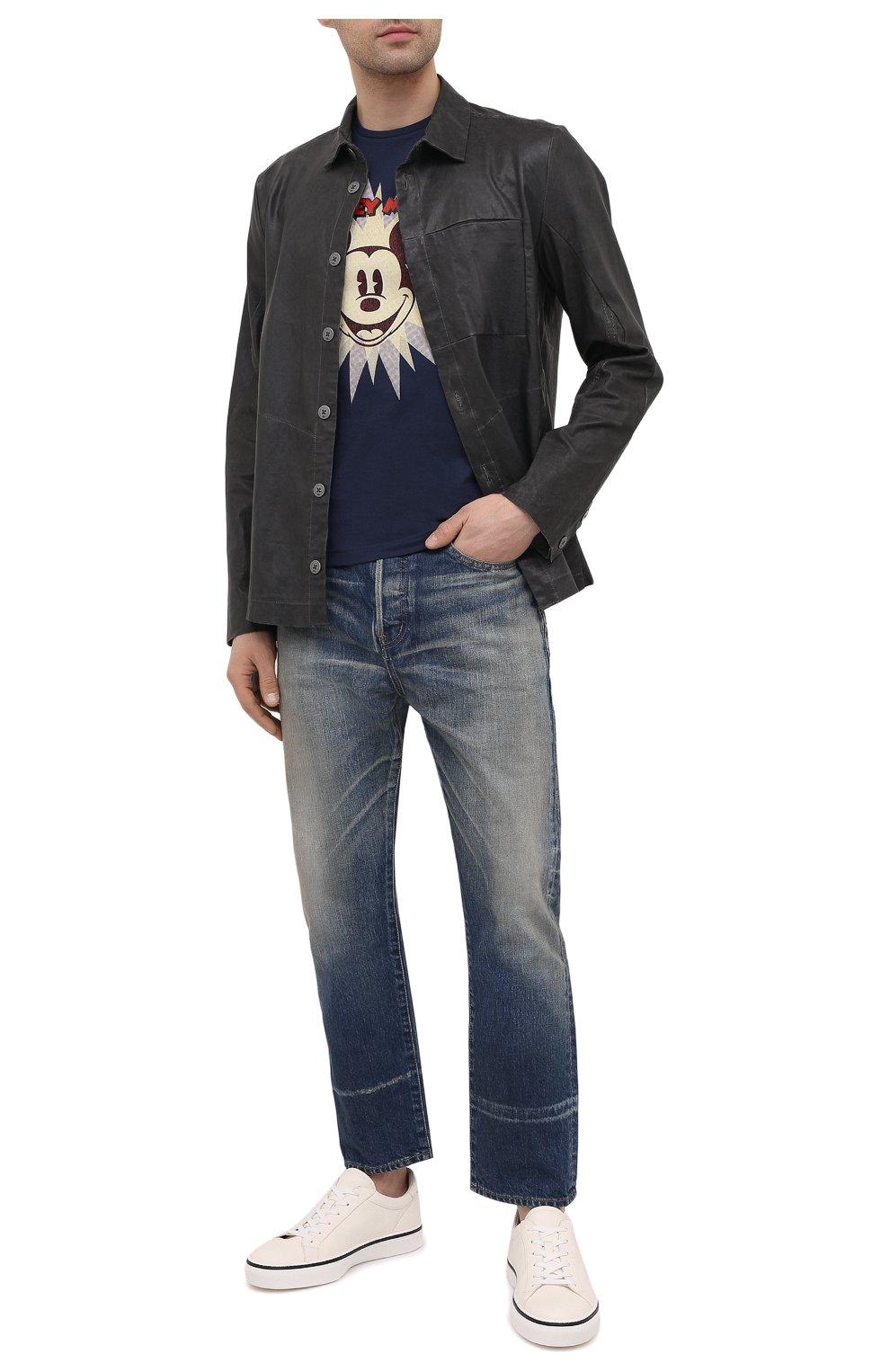 Мужская хлопковая футболка ICEBERG синего цвета, арт. 21E I1P0/F016/6301 | Фото 2 (Рукава: Короткие; Длина (для топов): Стандартные; Стили: Гранж; Принт: С принтом; Материал внешний: Хлопок)