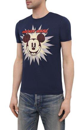 Мужская хлопковая футболка ICEBERG синего цвета, арт. 21E I1P0/F016/6301 | Фото 3 (Рукава: Короткие; Длина (для топов): Стандартные; Стили: Гранж; Принт: С принтом; Материал внешний: Хлопок)