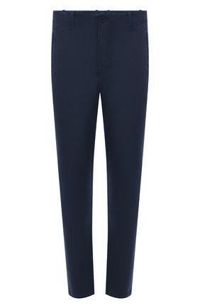 Мужские хлопковые брюки TRANSIT темно-синего цвета, арт. CFUTRNC120 | Фото 1 (Материал внешний: Хлопок; Длина (брюки, джинсы): Стандартные; Случай: Повседневный; Стили: Кэжуэл; Силуэт М (брюки): Чиносы)