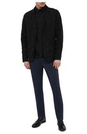 Мужские хлопковые брюки TRANSIT темно-синего цвета, арт. CFUTRNC120 | Фото 2 (Материал внешний: Хлопок; Длина (брюки, джинсы): Стандартные; Случай: Повседневный; Стили: Кэжуэл; Силуэт М (брюки): Чиносы)
