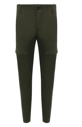 Мужские хлопковые брюки-карго TRANSIT хаки цвета, арт. CFUTRNC122 | Фото 1 (Материал внешний: Хлопок; Длина (брюки, джинсы): Стандартные; Случай: Повседневный; Стили: Кэжуэл)