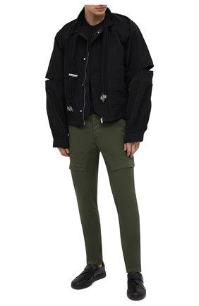 Мужские хлопковые брюки-карго TRANSIT хаки цвета, арт. CFUTRNC122 | Фото 2 (Материал внешний: Хлопок; Длина (брюки, джинсы): Стандартные; Случай: Повседневный; Стили: Кэжуэл)
