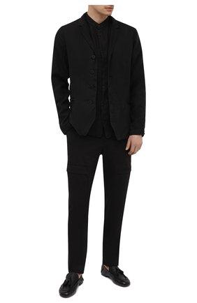 Мужские хлопковые брюки-карго TRANSIT черного цвета, арт. CFUTRNC122 | Фото 2 (Материал внешний: Хлопок; Длина (брюки, джинсы): Стандартные; Случай: Повседневный; Силуэт М (брюки): Карго; Стили: Кэжуэл)
