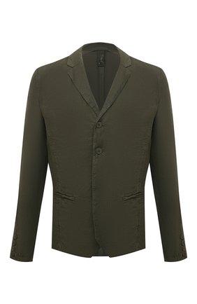 Мужской льняной пиджак TRANSIT хаки цвета, арт. CFUTRND134 | Фото 1