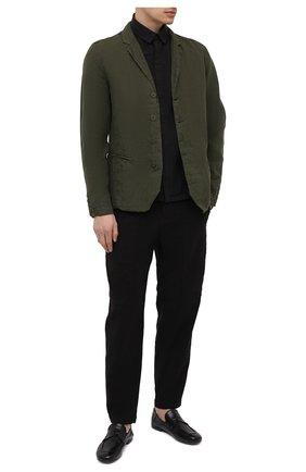Мужской льняной пиджак TRANSIT хаки цвета, арт. CFUTRND134 | Фото 2