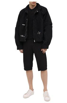 Мужские шорты из хлопка и вискозы TRANSIT черного цвета, арт. CFUTRNE142 | Фото 2 (Длина Шорты М: Ниже колена; Материал внешний: Хлопок, Вискоза; Мужское Кросс-КТ: Шорты-одежда; Принт: Без принта; Стили: Кэжуэл)
