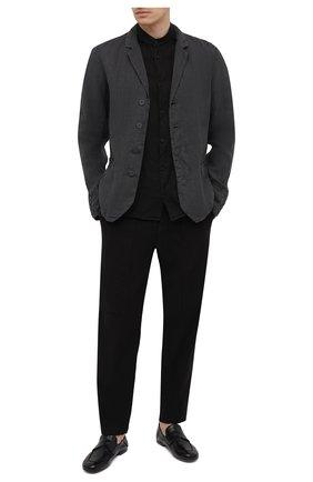 Мужские брюки из хлопка и льна TRANSIT черного цвета, арт. CFUTRNH170 | Фото 2
