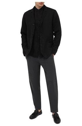 Мужские брюки из хлопка и льна TRANSIT темно-серого цвета, арт. CFUTRNH170 | Фото 2 (Материал внешний: Хлопок, Лен; Длина (брюки, джинсы): Стандартные; Случай: Повседневный; Стили: Кэжуэл)