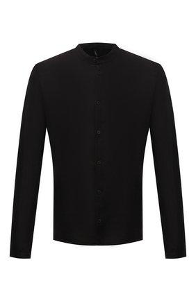Мужская льняная рубашка TRANSIT черного цвета, арт. CFUTRNV312 | Фото 1