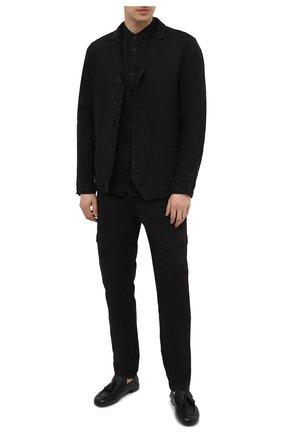 Мужская льняная рубашка TRANSIT черного цвета, арт. CFUTRNV312 | Фото 2