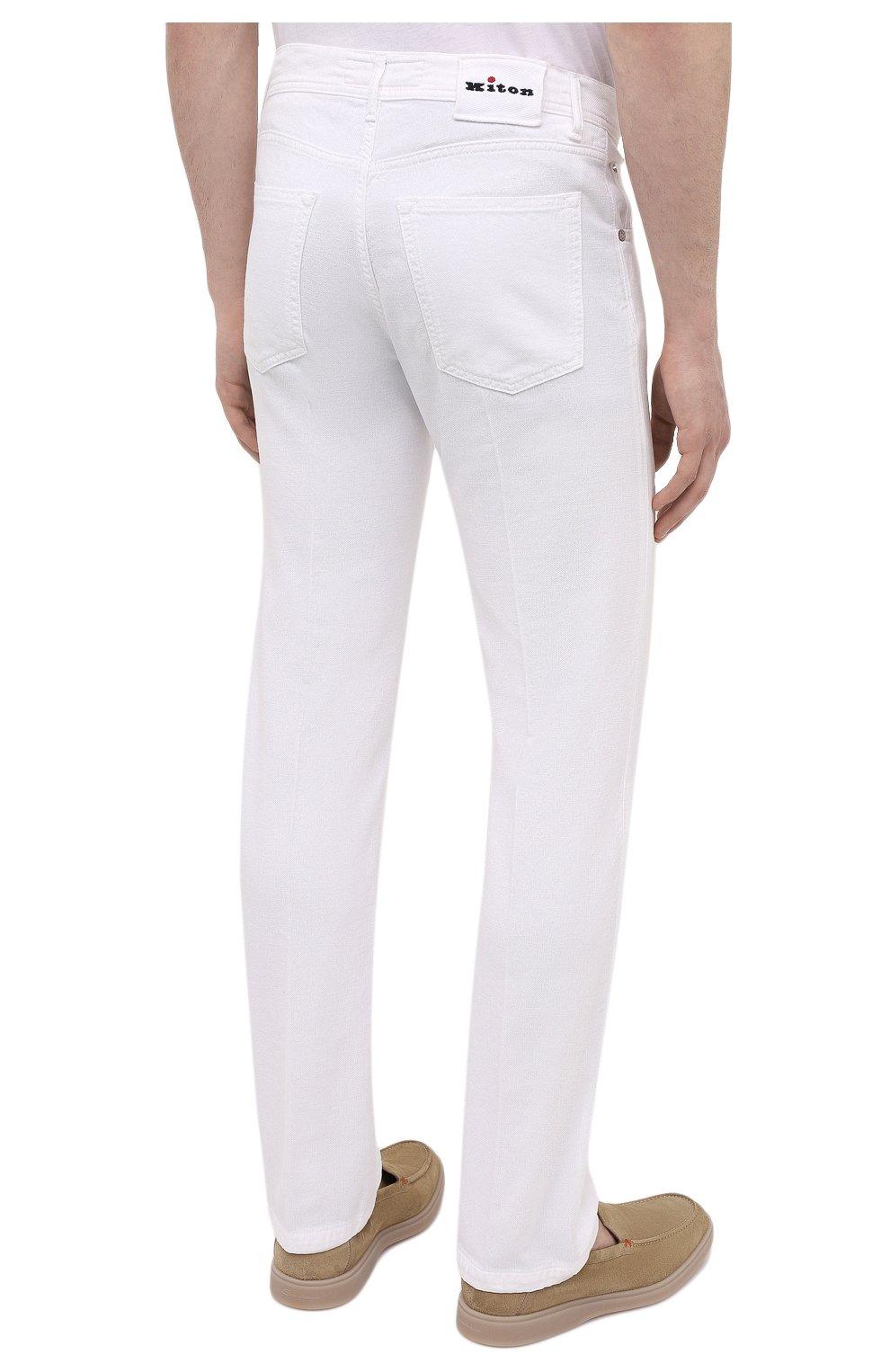 Мужские брюки KITON белого цвета, арт. UPNJSJ07T45   Фото 4