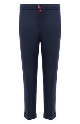 Мужские шерстяные брюки KITON синего цвета, арт. UFPLACJ07T46 | Фото 1