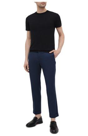 Мужские шерстяные брюки KITON синего цвета, арт. UFPLACJ07T46 | Фото 2