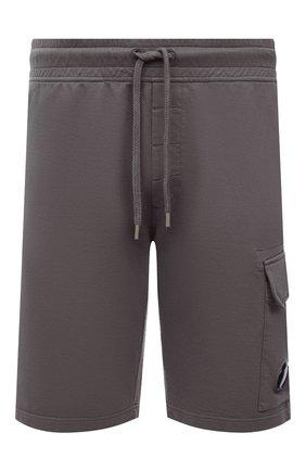 Мужские хлопковые шорты C.P. COMPANY темно-серого цвета, арт. 10CMSB041A-002246G | Фото 1 (Материал внешний: Хлопок; Кросс-КТ: Трикотаж; Принт: Без принта; Стили: Спорт-шик; Длина Шорты М: До колена)