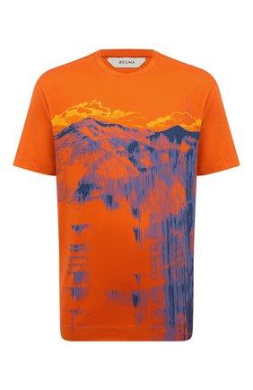 Мужская хлопковая футболка Z ZEGNA оранжевого цвета, арт. VW372/ZZ650L | Фото 1 (Рукава: Короткие; Длина (для топов): Стандартные; Материал внешний: Хлопок; Принт: С принтом; Стили: Кэжуэл)