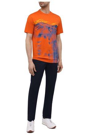 Мужская хлопковая футболка Z ZEGNA оранжевого цвета, арт. VW372/ZZ650L | Фото 2 (Рукава: Короткие; Длина (для топов): Стандартные; Материал внешний: Хлопок; Принт: С принтом; Стили: Кэжуэл)