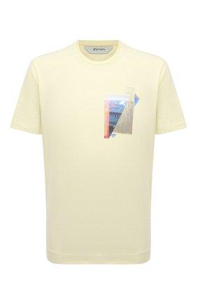 Мужская хлопковая футболка Z ZEGNA желтого цвета, арт. VW367/ZZ649T | Фото 1 (Длина (для топов): Стандартные; Материал внешний: Хлопок; Рукава: Короткие; Принт: С принтом; Стили: Кэжуэл)