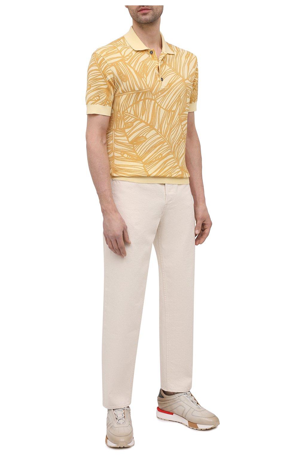 Мужское хлопковое поло ERMENEGILDO ZEGNA желтого цвета, арт. UW321/745L | Фото 2