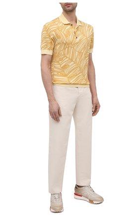 Мужское хлопковое поло ERMENEGILDO ZEGNA желтого цвета, арт. UW321/745L | Фото 2 (Рукава: Короткие; Длина (для топов): Стандартные; Материал внешний: Хлопок; Застежка: Пуговицы; Стили: Кэжуэл; Кросс-КТ: Трикотаж)