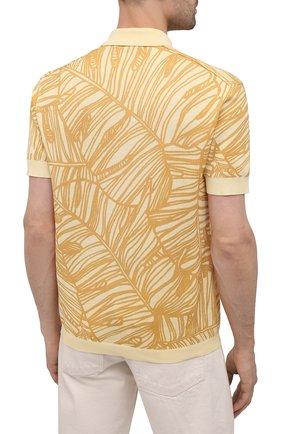 Мужское хлопковое поло ERMENEGILDO ZEGNA желтого цвета, арт. UW321/745L | Фото 4