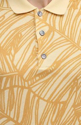 Мужское хлопковое поло ERMENEGILDO ZEGNA желтого цвета, арт. UW321/745L | Фото 5